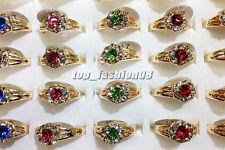 Fashion 50pcs Wholesale Jewelry Mixed Lots Women's Gold Plated Rhinestone Rings
