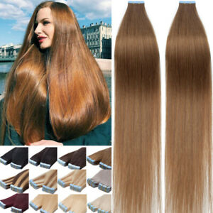 Thick 200g 80pcs Tape In Remy Human Hair Extensions Skin Weft FULL HEAD BLONDE q