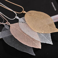 Women Real Leaves Leaf Sweater-Pendant Necklace Chain Unique Jewelry Charm Gift