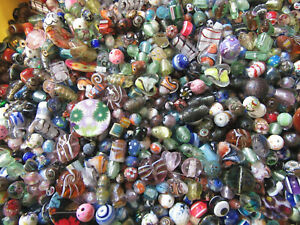 100g LAMPWORK MILLIOFIORI SANDSTONE BEADS - CLEARANCE - MIXED BAG  BARGAIN BAG -
