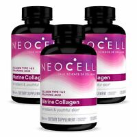 3 x Neocell MARINE Collagen + HA Hyaluronic Acid 120 Caps, FRESH, Made In USA