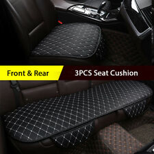 3PCS Universal Seat Cushion Black Leather Car Seat Cover Chair Protect Mat