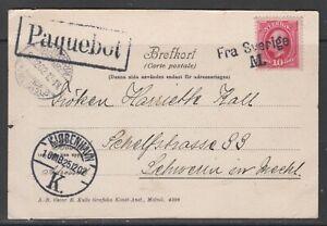 """Sweden 1902. Shipmail postcard to Germany. Line canc. """"Fra Sverige M/Paquebot""""."""