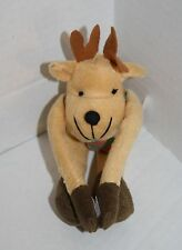 "Oriental Trading Co Christmas REINDEER 8"" Brown Plush Green Red Scarf 4/3280"
