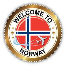 Norway Golden Welcome Label Car Bumper Sticker Decal 5'' x 5''
