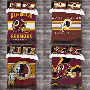 3PCS Washington Redskins Soft Duvet Quilt Cover Pillowcases Bedding Set US Size