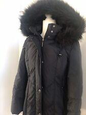 Platinum by UTEX Black Long Down Coat Parka Fur Trim Hood Size P/S