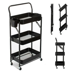 3 Tier Foldable Metal Rolling Cart Movable Storage Organizer Shelves with Wheels