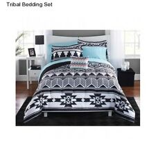 New Tribal Bedding King Size Comforter Set White Black Bedspread and Sheets Bed