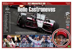 """HELIO CASTRONEVES WINS THE 2021 INDIANAPOLIS 500 19""""x13"""" COMMEMORATIVE POSTER"""