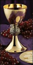 "Loaves & Fish Catholic Chalice 8"" with 5"" Paten Solid Brass with Gold Plating"