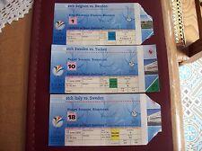 TICKET EURO 2000  3 MATCHES SWEDEN vs BELGIUM ,TURKEY and ITALY