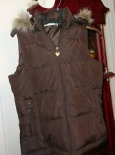 M Women Junior Maurices Vest Puffer Insulated Brown Removable Hood Faux Fur Trim