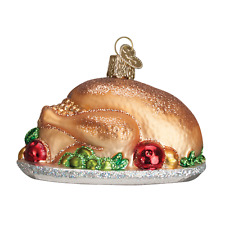 """Turkey Platter"" (32201) Old World Christmas Glass Ornament w/ OWC Box"