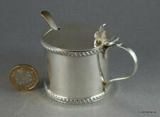 More details for edwardian sterling silver mustard pot with spoon - 86.4 grams - free uk post