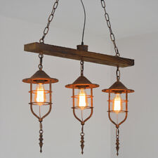 Retro Nautical Wood Beam Pendant Lamp Fixture Kitchen Island Lantern Light Home