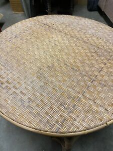 Vintage Wicker Rattan End/Side Table Plant Stand Retro Boho Beach Cottage~NEAT