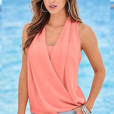 UK Womens Sleeveless Vest Blouse T Shirt Blouse Summer Ladies Loose Frill Top