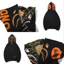 Double Hood Bape A Bathing Ape Hoodie Shark Head Sweatshirt Black Coat Jacket