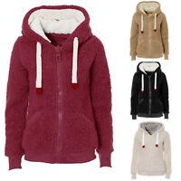 Ladies Womens Soft Teddy Sherpa Fleece Hooded Jumper Hoody Jacket Fleece Lined