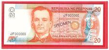1987 PHILIPPINES 20 Peso Aquino & Fernandez Specimen Note P170 s JF 000000 UNC