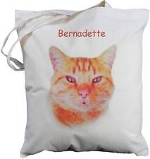PERSONALISED - GINGER CAT DESIGN -  NATURAL COTTON SHOPPING BAG  - shopping tote