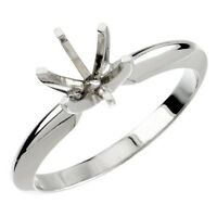 Round 6-Prong Heavy Solitaire Gold Ring Mounting (0.20ct to 5ct) (14K, Platinum)