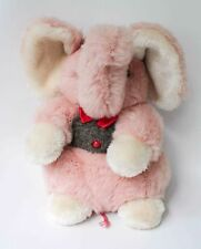 Vintage Alegria Elephant Pink Stuffed Animal Plush Red Bow Tie Baby Toy Plush