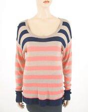 C&C California Striped Sweater Pink Tan Blue S 8383 TR -Floral Scent
