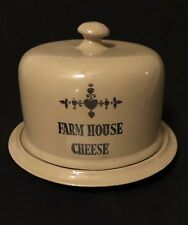 "Moira Pottery England Crock Farm House Cheese Tray Dish Lid  9 1/4""x6"" Tan Brown"