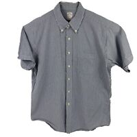 Brooks Brothers 346 Mens Large Blue White Striped Short Sleeve Button Down Shirt