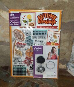Autumn Blessings Stamp & Die Set - Sunflowers, Leaves, Pumpkins, Sentiments