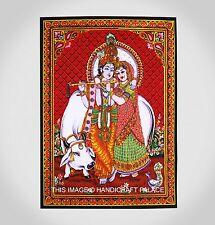 Coton Indien Radha Krishna Tapisserie Seul Couvre-Lit Décoration Murale Décor