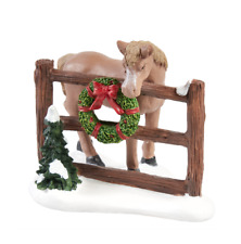 Holiday Time Horse Christmas Wreath Fence Town Figure Accessory Snow Decor