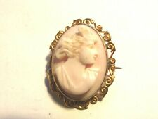 ANTIQUE 9CT GOLD VICTORIAN ANGEL SKIN CORAL CAMEO BROOCH