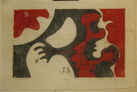 1969 WILLIAM ASHBY McCLOY Cry-9-0-13 #2 Abstract Expressionist MODERNIST Woodcut
