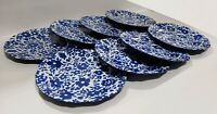 "SET/8 BETTER HOMES GARDENS 8¼"" MELAMINE BLUE WHITE FLOWERS SALAD DESSERT PLATES"
