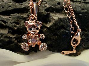 Damen Halskette Sweet Teddy Strass Farbe Rose Gold rosevergoldet 0714