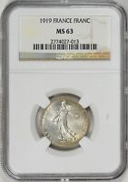 1919 France Silver 1 Franc MS63 NGC