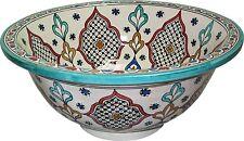 FEZ Marocchino in ceramica dipinto a Mano Lavandino Bacino-Rotonda, di 40 H 16 cm