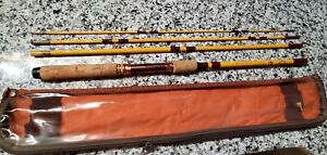 """NOS Eagle Claw Packit Spinning Fly Fishing Travel 4 Piece Rod 7' 5"""" # PK601"""