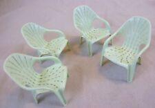 """Vintage doll furniture - 4 possiblement """"Fée"""" en plastique empilable de jardin chaises-C 1960 S"""