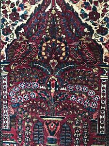 Antique Sarouk with vase design 2'x 2' mat. Deep burgundy red. Hand knotted wool