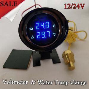 Universal 12V/24V Car LCD Digital Voltmeter Water Temp Gauge Meter with Sensor