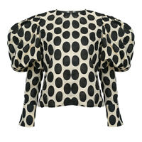 2019FW Womens Designer Inspired Polka Dots Bubble Puff Sleeves Top Shirt Blouse
