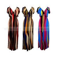 Women's Deep V Neck Maxi Long Full Length Sundress Dress Hawaiian Boho Striped