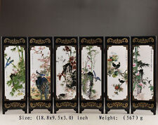 SUPERB CHINESE HANDWORK LACQUER PAINTING BIRD FLOWER SCREEN DECOR COLLECTIBLES