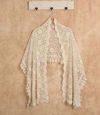 Boho Lace Bridal Shawl Vintage Wedding Bride Bridesmaid Antique Cream Ivory