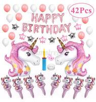 42PCS Unicorn Latex Balloons Set Kids Happy Birthday Banner Wedding Party