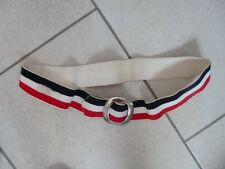 "VINTAGE Red/White/Blue Elasticated Belt with Metal Buckle  - 36"" L max"